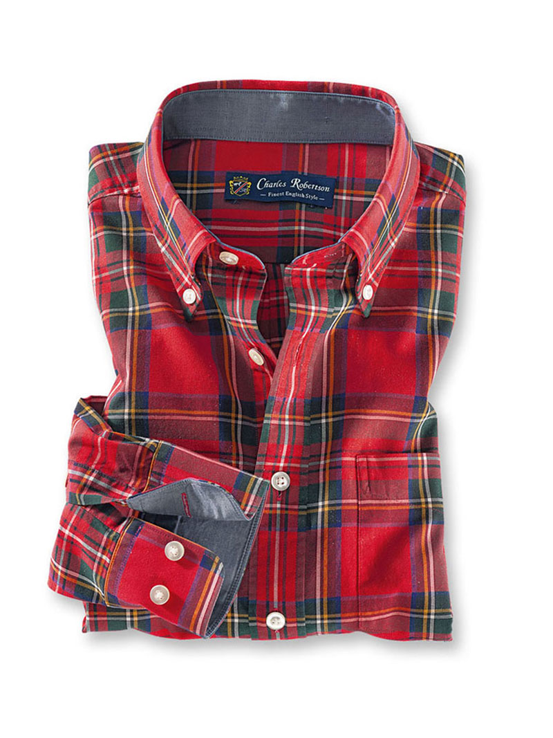 Winterhemd im 'Royal Stewart'-Tartan in Comfort Fit