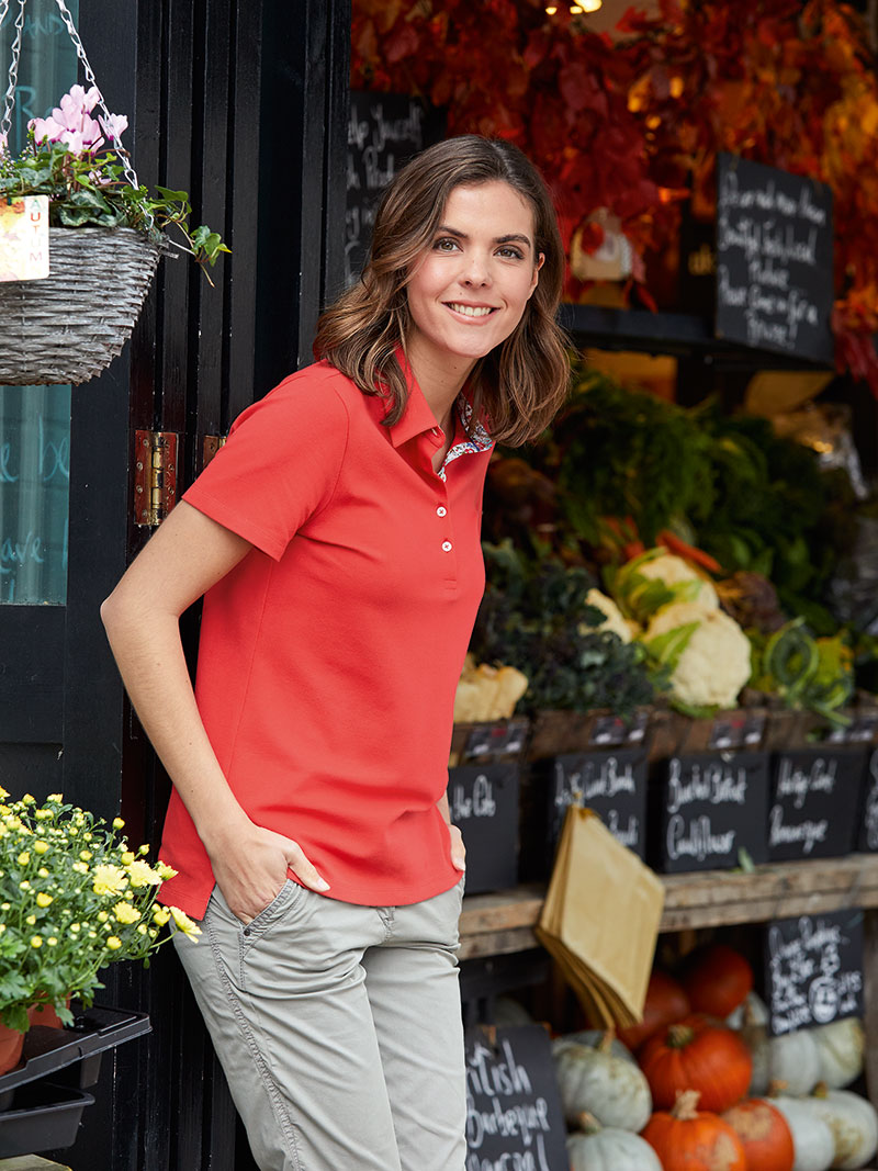 Liberty-Poloshirt 'Felicite' in Coral Red Bild 2