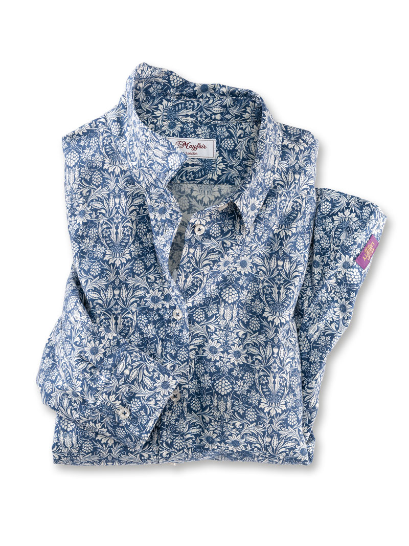 Liberty-Bluse 'Claire' in Blau-Weiß