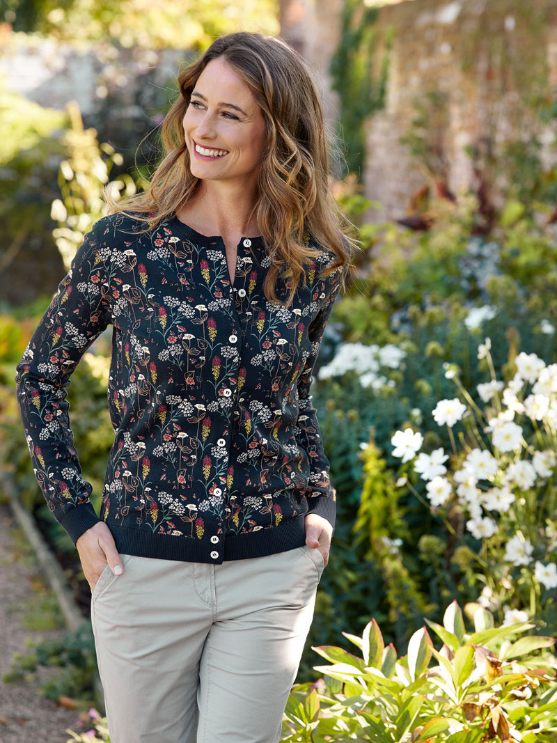 Barbour-Sommer-Cardigan 'Country Flowers' in Navy Bild 2