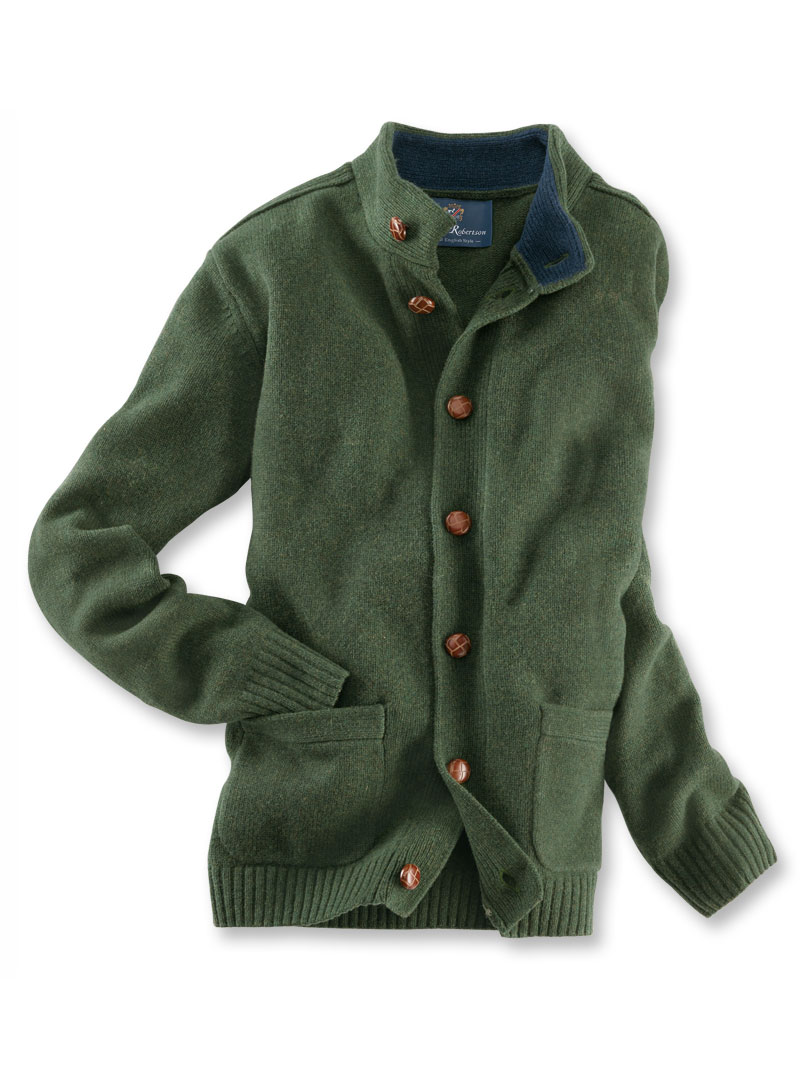 Robertson-Country-Cardigan aus Lambswool in Dark Green