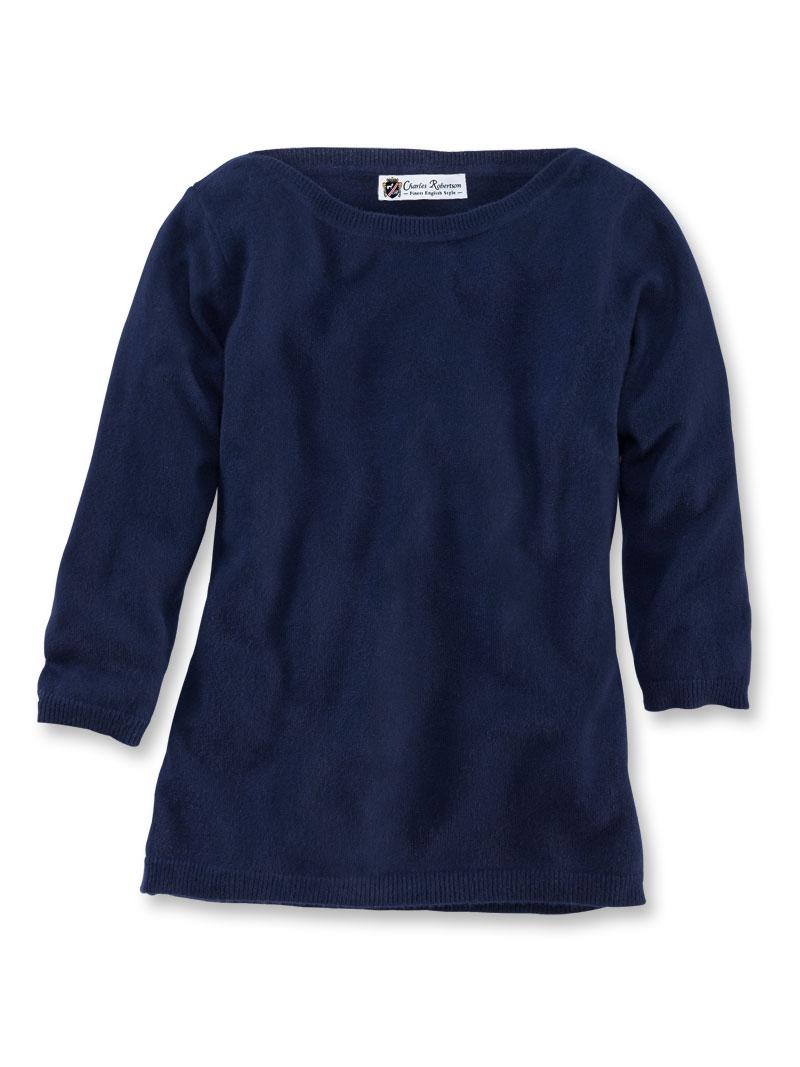 d062df14ff7e2f 3/4-Arm-Pullover aus Kaschmir in Navy - Pullover & Strickjacken Damen