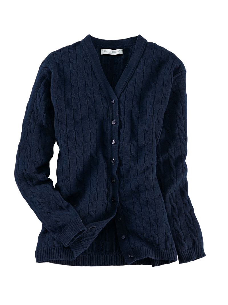 Cardigan aus Merinowolle in Navy von William Lockie