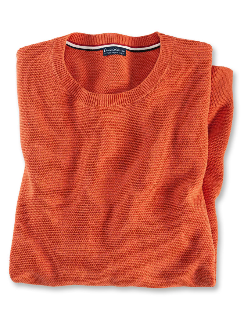 Orange-Roter Herrenpullover im Stukturstrick
