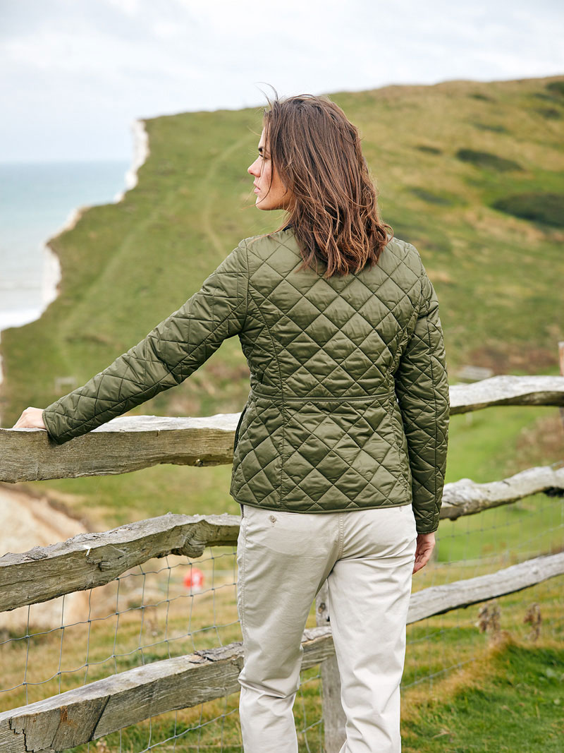 Barbour-Steppjacke Deveron in Oliv