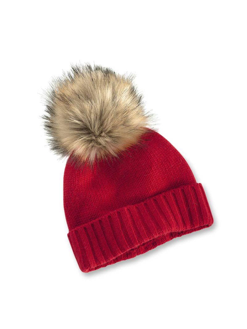 Brauch hochwertiges Design Genießen Sie kostenlosen Versand Kaschmir-Mütze mit Bommel in Carmine Red von Helen Leigh