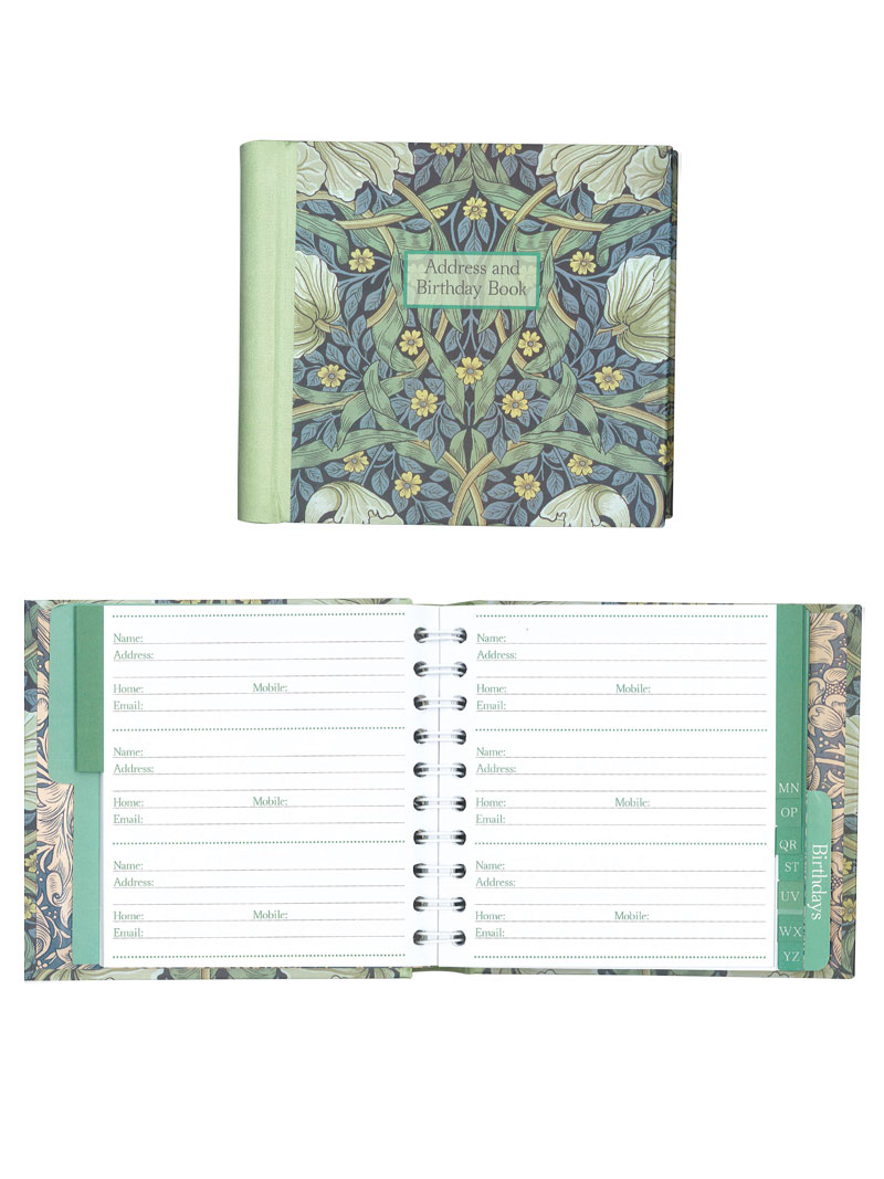 Adressbuch Pimpernel mit William Morris Motiv