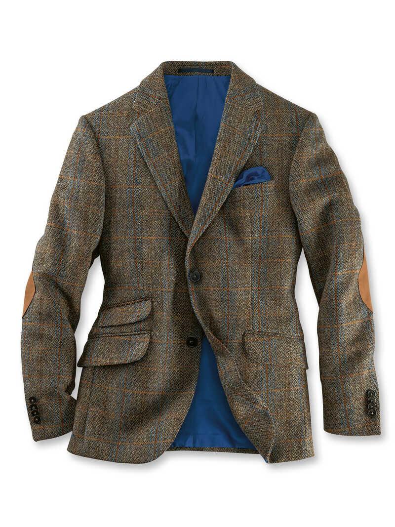 Premium Sakko in Oliv Braun aus Harris Tweed
