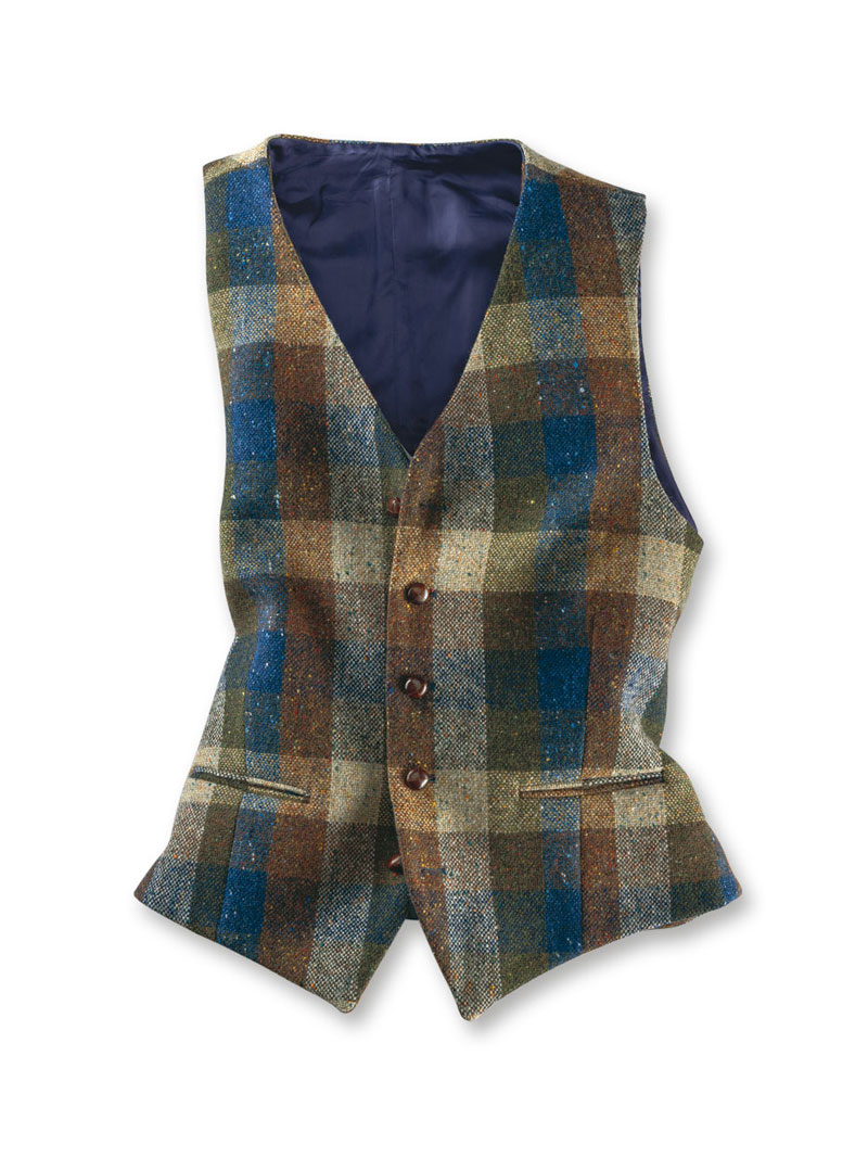 Patchwork-Weste aus Donegal-Tweed für Herren