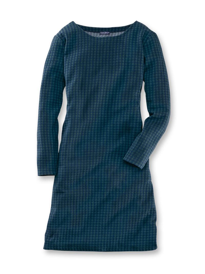 robertson-kleid aus winterjersey in blau und grün