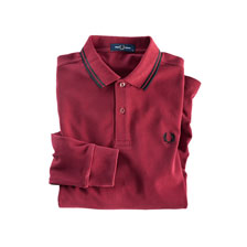Fred-Perry-Polo mit langem Arm in Bordeaux