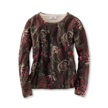 Pullover 'Beautiful English Roses' in Oliv und Bordeaux von Mayfair