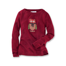 Lambswool-Pullover 'Owls' in Bordeaux von Robertson