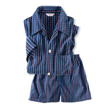 Pyjama 'Tattersall Shorty' in Navy von Derek Rose