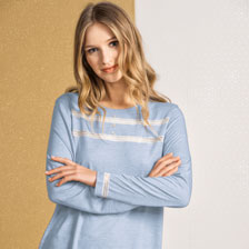 Mayfair-Pyjama in Light Blue Melange