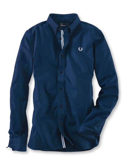 Sportives Twillhemd in Navy von Fred Perry