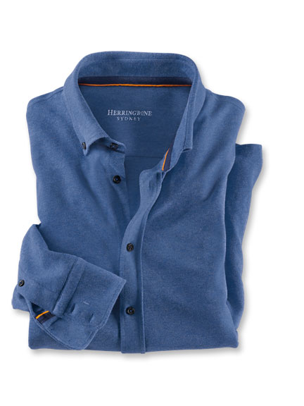 Piqué-Hemd in Denim meliert von Herringbone