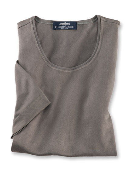 Seiden-Mix-Shirt in Light Khaki von Herringbone