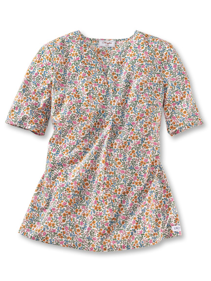 Liberty-Shirtbluse 'Country Cottage' in Ecru und Bunt