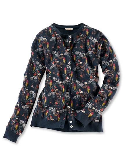 Barbour-Sommer-Cardigan 'Country Flowers' in Navy