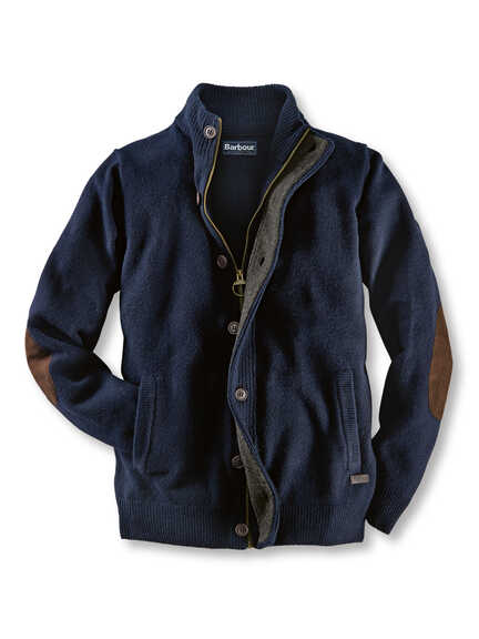 Lambswool-Cardigan mit Zip von Barbour in Navy