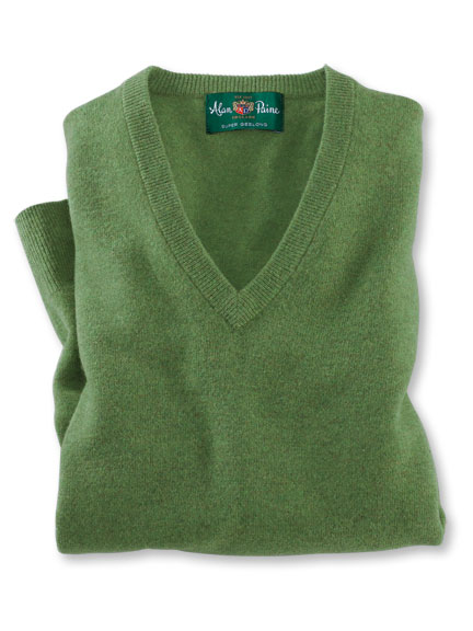 Lambswool-Pullover 'Albury' von Alain Paine in Green