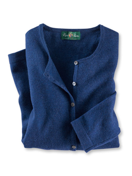 Cardigan aus Geelong-Lambswool in Indigo von Alan Paine