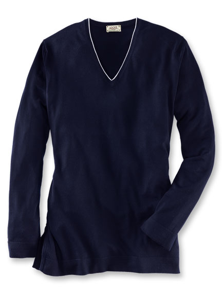 Long-Pullover aus Merinowolle in Navy