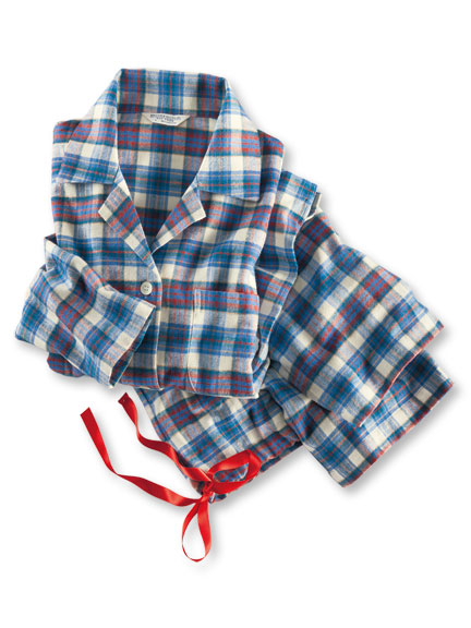 Luxuriöser Flanellpyjama in Ecru-Blau-Rot von Bonsoir