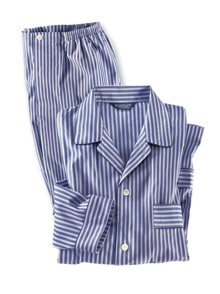 Gentleman-Pyjama in Blau-Grau gestreift von Bonsoir