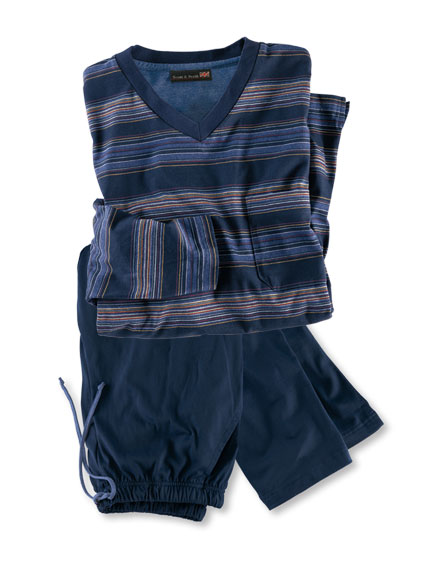 Classic-Pyjama 'British Stripes' in Navy von Scott & Perth