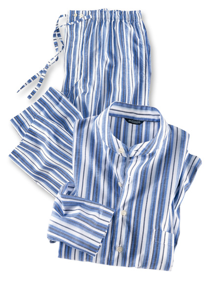 Sommer-Pyjama 'Bombay' in Blau gestreift von Bonsoir