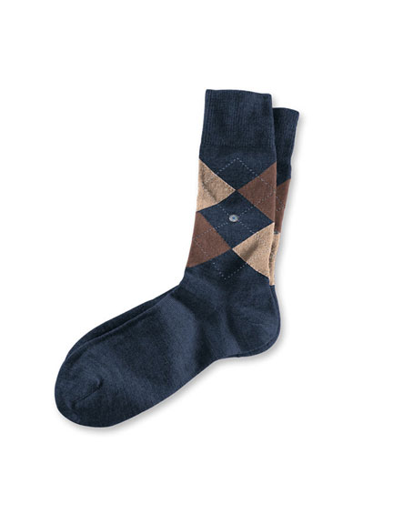 Argyle-Socken 'Edinburgh' in Navy-Camel von Burlington