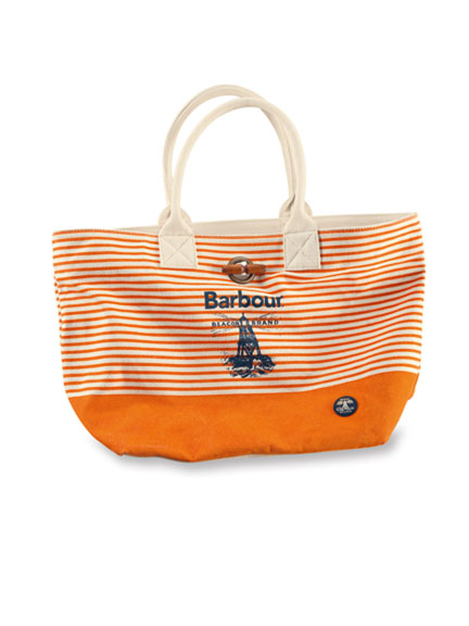 Barbour 'Beacon Beachbag' in Orange-Ecru