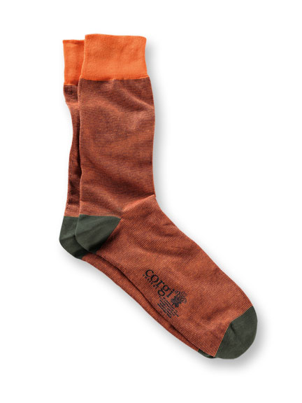 Corgi-Socken in Orange und Oliv gestreift