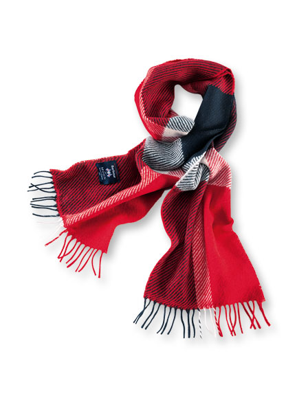 Barbour-Schal 'Hamble' in Navy und Red im 'Blanket Check'