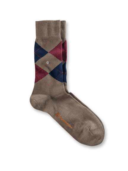 Argyle-Socken 'Edinburgh' in Taupe-Bordeaux