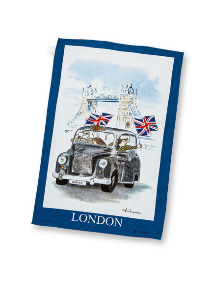 Geschirrtuch 'London Taxi & Tower Bridge'