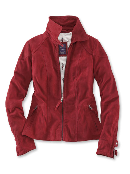 Lederjacke aus feinstem Ziegenvelours in Cranberry