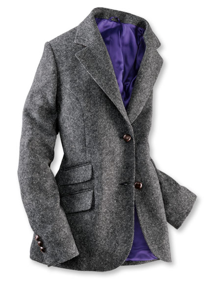 Robertson-Blazer aus Donegal-Tweed in Anthrazit