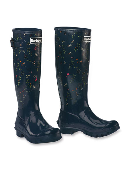 Barbour-Wellingtons 'Berry & Bird' in Navy